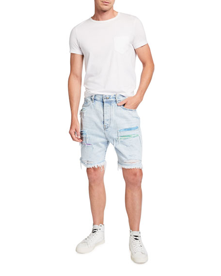 Image 3 of 3: Amiri Men's Watercolor Patchwork Thrasher Shorts