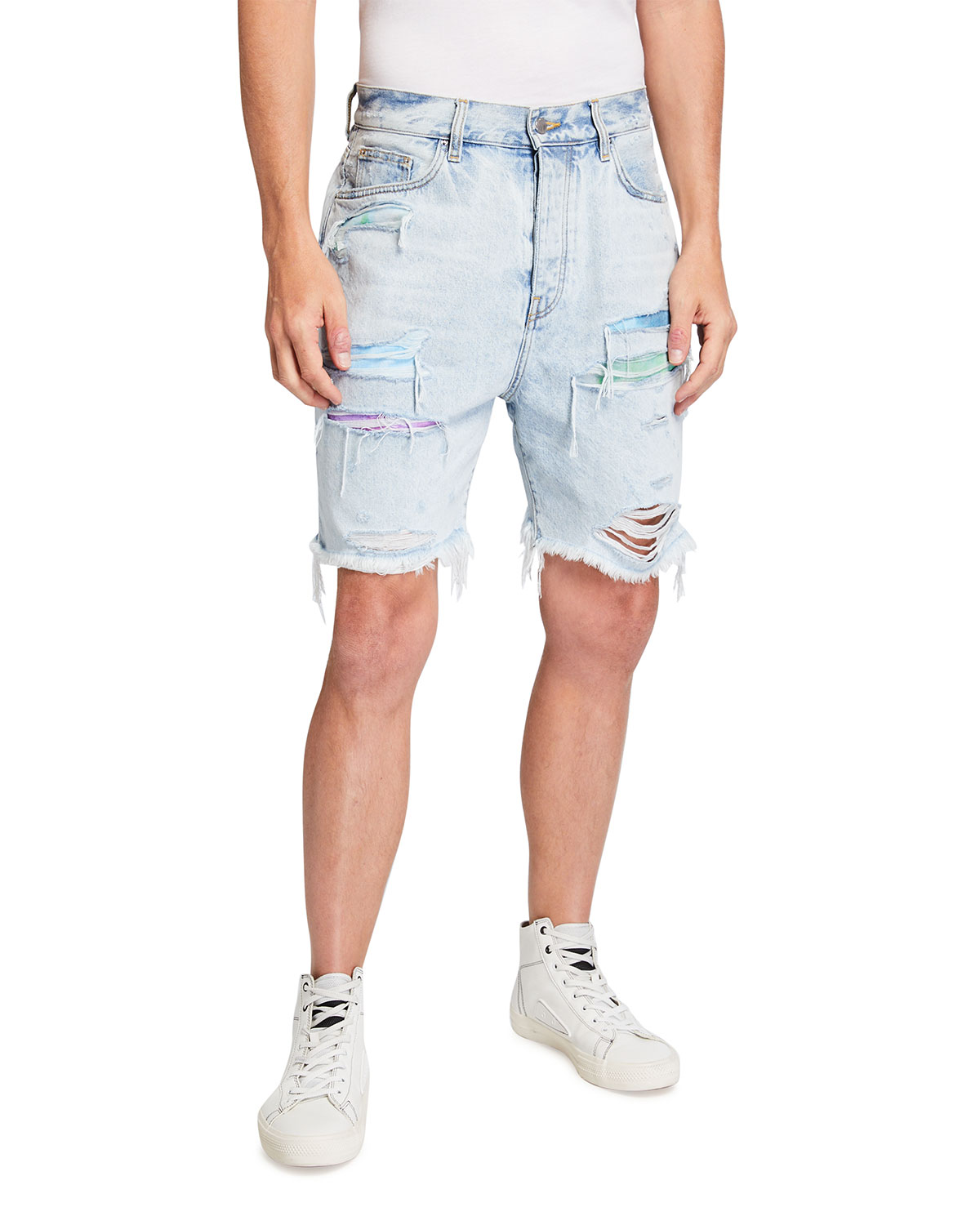 Amiri Men's Watercolor Patchwork Thrasher Shorts
