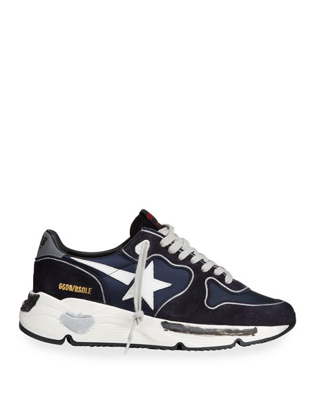 Image 3 of 4: Golden Goose Men's Running Sole Mix-Media Sneakers
