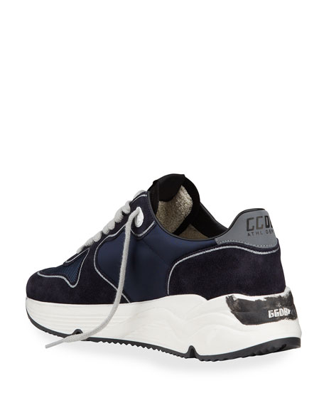 Image 4 of 4: Golden Goose Men's Running Sole Mix-Media Sneakers