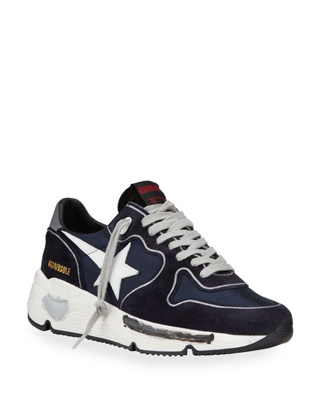 Image 1 of 4: Golden Goose Men's Running Sole Mix-Media Sneakers