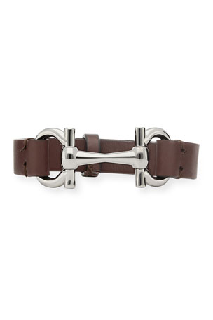 Salvatore Ferragamo Men's Gancini-Bit Leather Bracelet