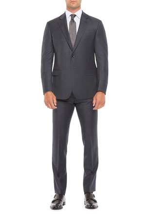 Giorgio Armani Men's Large Plaid Wool Two-Piece Suit