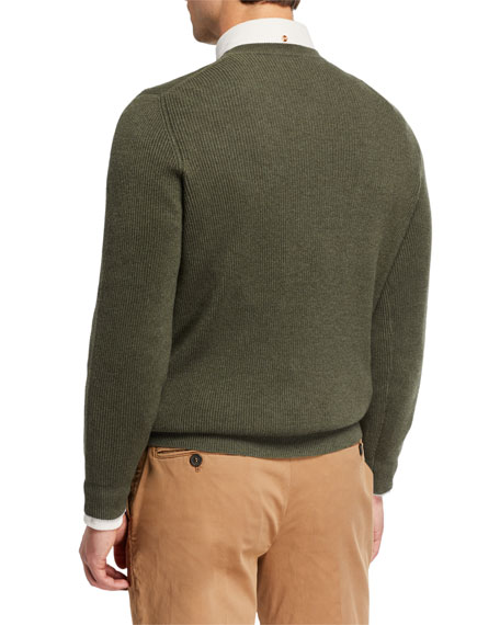 Image 2 of 2: Men's Cashmere English Rib-Knit Sweater