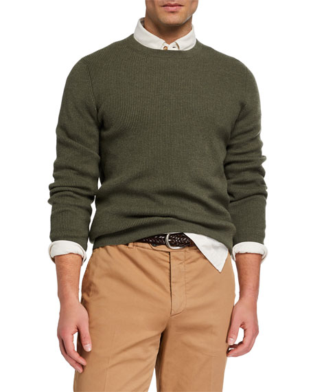 Image 1 of 2: Men's Cashmere English Rib-Knit Sweater