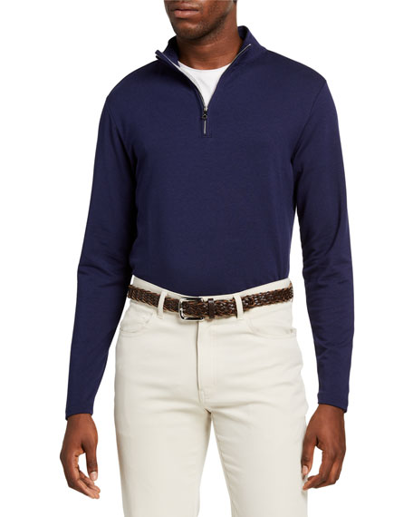 Image 1 of 2: Peter Millar Men's Ace Crown Crafted Quarter-Zip Sweater