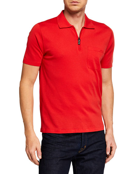 Image 1 of 2: Brioni Men's Short-Sleeve Solid Polo Shirt