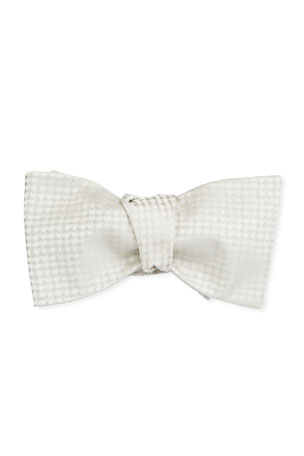Brioni Men's Textured Silk Self-Tie Bow Tie