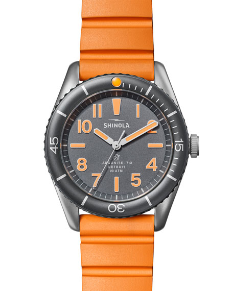 Image 2 of 5: Shinola Men's 42mm The Duck Water-Resistant Watch w/ Rubber Strap