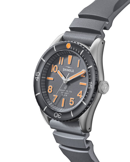 Image 3 of 5: Shinola Men's 42mm The Duck Water-Resistant Watch w/ Rubber Strap