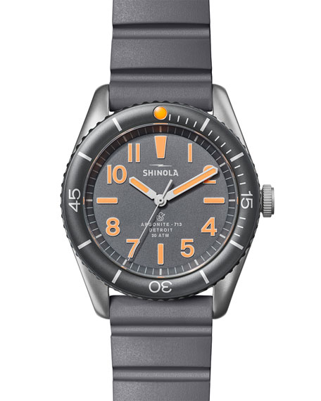 Image 1 of 5: Shinola Men's 42mm The Duck Water-Resistant Watch w/ Rubber Strap