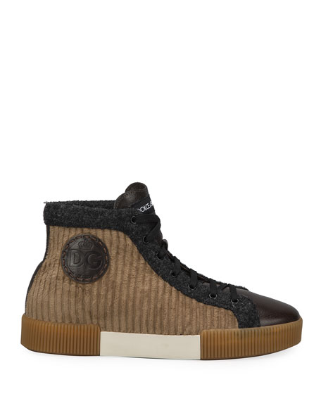 Image 3 of 4: Dolce & Gabbana Men's Runway Mix-Media High-Top Sneakers