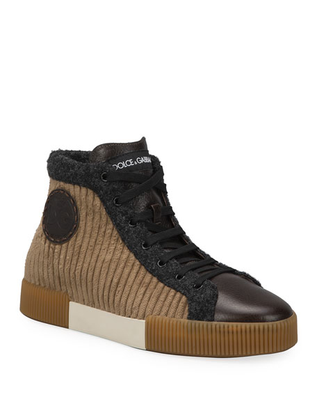Image 1 of 4: Dolce & Gabbana Men's Runway Mix-Media High-Top Sneakers