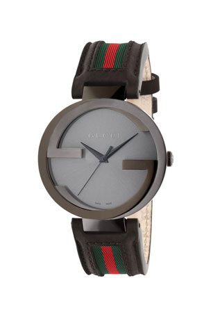 Gucci Men's Interlocking G Watch w/ Leather Web Strap
