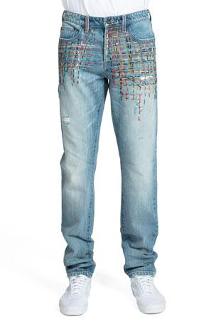 PRPS Men's Berwick Le Sabre Multi-Stitch Jeans
