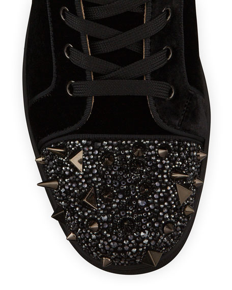 Image 2 of 4: Christian Louboutin Men's Lou Pik Pik Strass Suede High-Top Sneakers