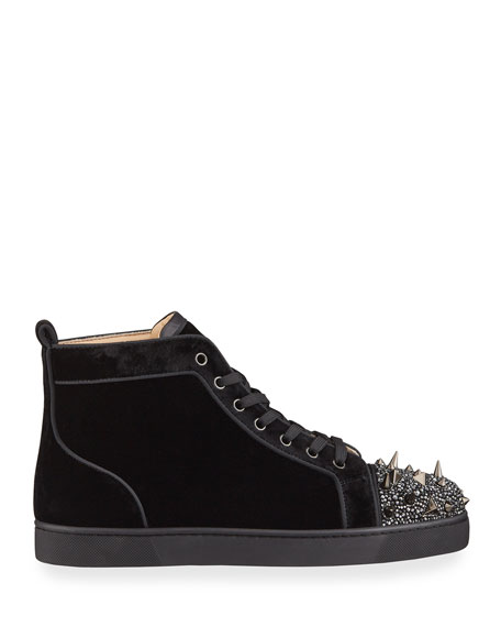 Image 3 of 4: Christian Louboutin Men's Lou Pik Pik Strass Suede High-Top Sneakers