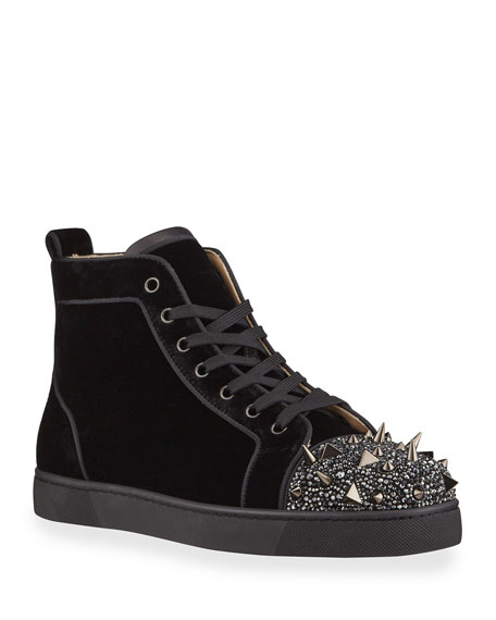 Image 1 of 4: Christian Louboutin Men's Lou Pik Pik Strass Suede High-Top Sneakers