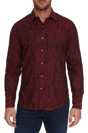 Robert Graham Men's Claude Striped Floral Jacquard Sport Shirt