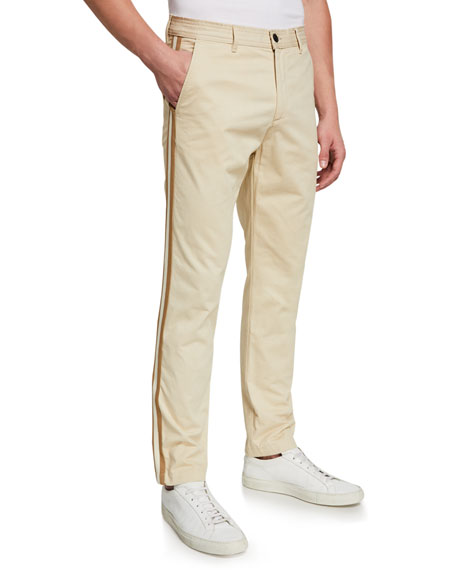 Image 1 of 3: Ovadia Men's Side-Stripe Chino Track Pants
