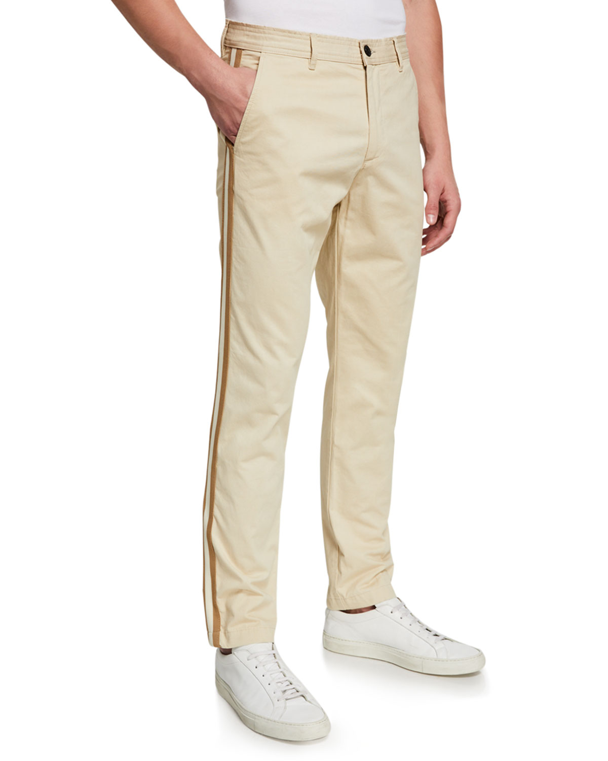Ovadia Men's Side-Stripe Chino Track Pants