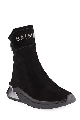 Balmain Men's B Glove Suede Zip High-Top Sneakers