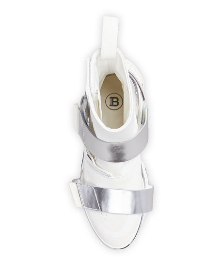 Image 2 of 4: Balmain Men's B-Bold Two-Tone Double-Grip Strap Sneakers