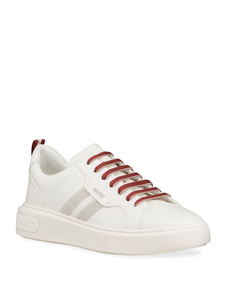 Image 5 of 5: Bally Men's Maxim 7 Striped Leather Low-Top Sneakers