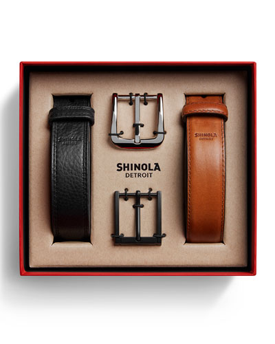 Shinola Men's Leather Belt Gift Set