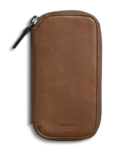 Shinola Men's Heritage Leather Travel Watch Case