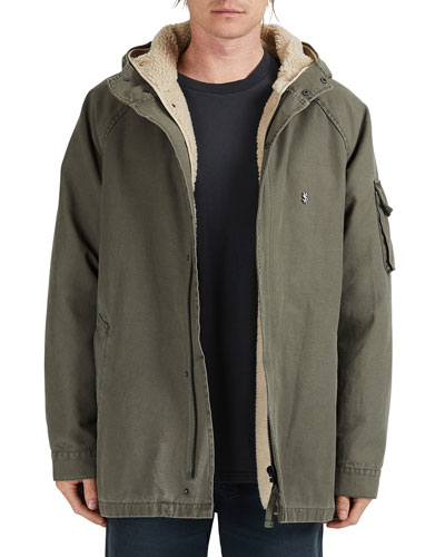Ksubi Men's Map Sherpa-Lined Hooded Jacket