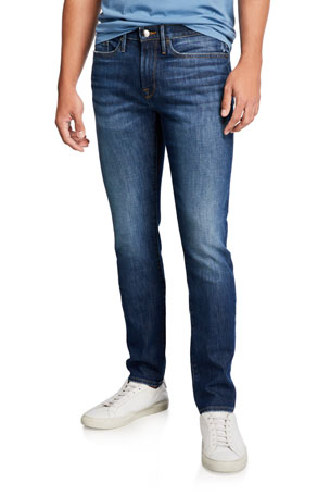 Mens Slim Fit Jeans Knit Denim Supper Stretch Straight Leg Fadded Designer Jeans