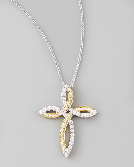 Valencia 18k White & Yellow Gold Diamond Cross Necklace