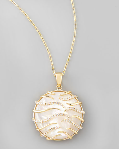 Luna Small 18k Gold Mother-of-Pearl Pendant Necklace, Yellow