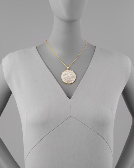 Luna Large 18k Gold Mother-of-Pearl Pendant Necklace, Yellow