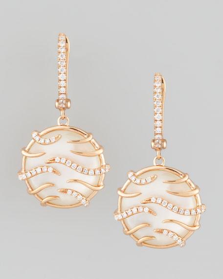 Luna Mini 18k Rose Gold Mother-of-Pearl Earrings, White