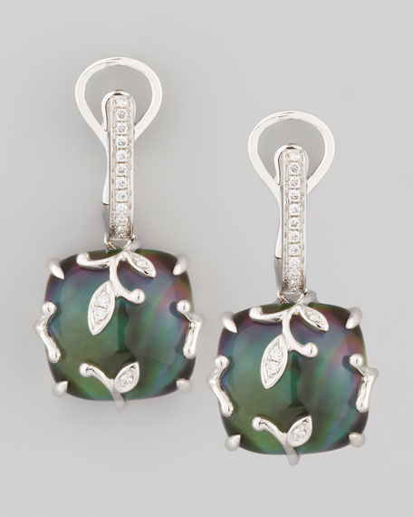 18k White Gold Vine Black Mother-of-Pearl Topaz Diamond Earrings