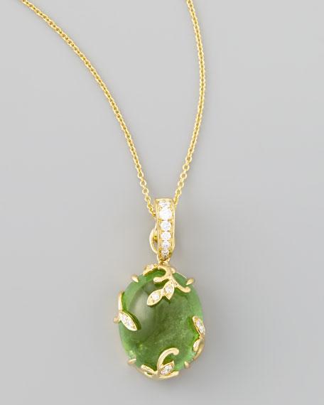 18k Yellow Gold Oval Tourmaline Vine Pendant Necklace