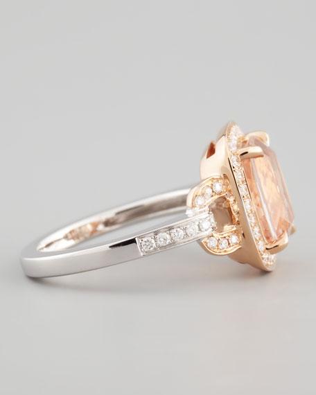 18k Rose Gold Pave Diamond Morganite Ring