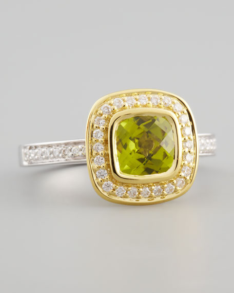 18k Yellow Gold Pave Diamond Peridot Ring