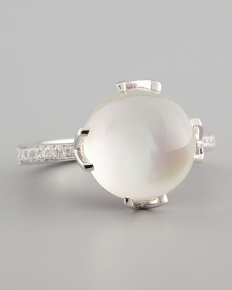 18k White Gold Mother-of-Pearl, Topaz & Diamond Ring
