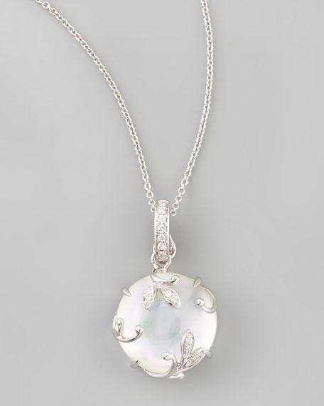 18k White Gold Topaz Mother-of-Pearl Vine Pendant Necklace