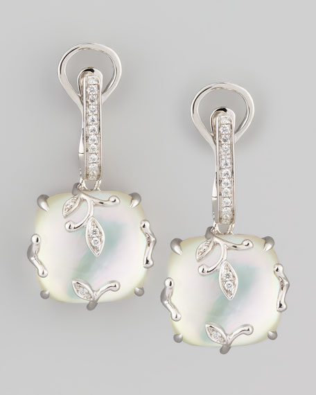 18k White Gold Vine Mother-of-Pearl & Diamond Earrings