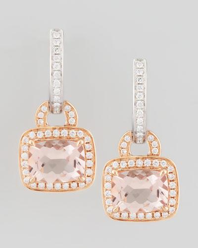 Frederic Sage 18k Rose Gold Pave Diamond Morganite Earrings