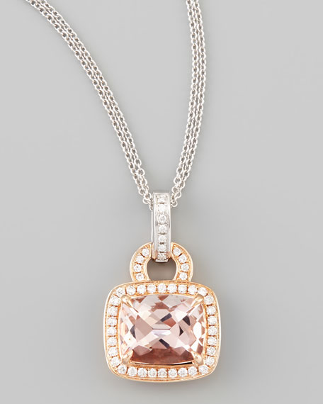 18k Rose Gold Pave Diamond Morganite Necklace