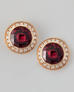 Frederic Sage 18k Rose Gold Rhodolite Stud Earrings