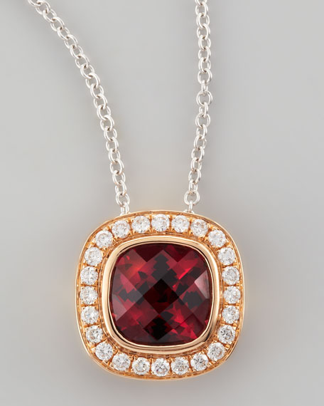 Mini Rosette 18k Rose Gold Rhodolite Pendant Necklace