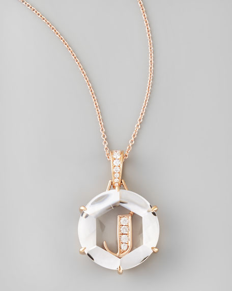 Jelly Initial Rose Gold Diamond Letter Necklace, J