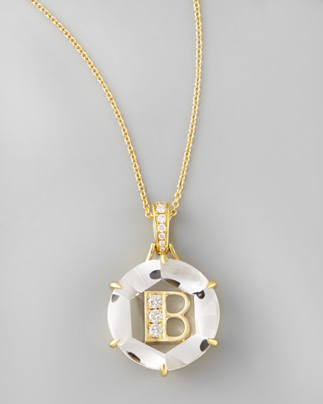 Jelly Initial Yellow Gold Diamond Letter Necklace, B