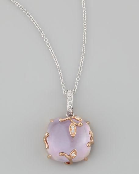 Lavender Vine Amethyst & Diamond Pendant Necklace